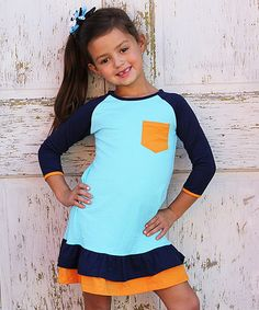 Loving this Navy & Mustard 'She Could Charm' Dress - Toddler & Girls on #zulily! #zulilyfinds