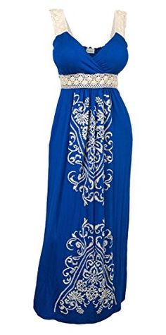 eVogues Plus Size Embroidery Print Empire Waist Maxi Dress Royal Blue  2X * Check this awesome product by going to the link at the image. (This is an affiliate link) Plus Size Maxi Dresses, Plus Size Outfits, Casual Dresses, Fashion Dresses, Summer Dresses, Women's Casual, Stylish Plus Size Clothing, Plus Size Clothing Stores, Plus Size Fashion