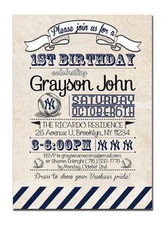 Yankees Birthday Invitation 1st Birthday Baseball Invitation Vintage Retro 18th 21st  Boy Girl DIY Printable or Printed - Diana Style. $23.00, via Etsy.