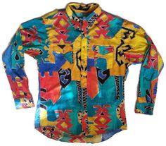 Wrangler Aztec Shirt Vintage Long Sleeve Cowboy Western L 16.5x35 Cotton Bright #Wrangler #Western