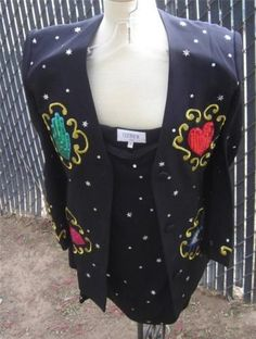 349.99$  Watch now - http://victd.justgood.pw/vig/item.php?t=qx8qw732726 - OZBEK Vintage Suit Jacket Skirt Sequined Lips Hands Hearts Eyes Black London