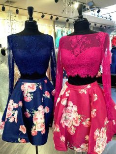 Have a Big Discount Up to 70% Off For 2017 New Collection Royal Blue Floral with Lace Sexy Two Piece Prom Homecoming Birthday Party Dress ItemY20016 At D-daydress.com!