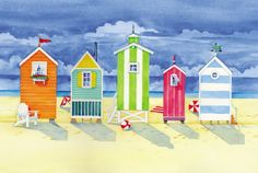 Brighton Huts Print by Paul Brent at Art.com