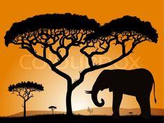 Savannah - elephant. Dawn in the African savanna. Silhouettes of trees and elephant against the backdrop of an orange sky. | Vector | Colourbox on Colourbox