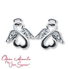 Diamond Angel Earrings Round-cut Sterling Silver.  Mothers Day is just around the corner. :)