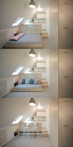 Unbelievable Attic Storage Australia Ideas 4 Stupendous Tips: Attic Design … Attic Loft, Loft Room, Attic Rooms, Attic Spaces, Tiny Spaces, Small Apartments, Attic Office, Attic Bathroom, Attic Bed