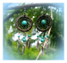 Dream Catcher Dangles / Earrings / Hangers (grey black turquoise) with metal feather charms by Malatichan on Etsy