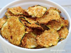 Oven Baked Zucchini Chips have to be one of the biggest fan favorites on Skinny Ms!!  #zucchini #chips #recipe