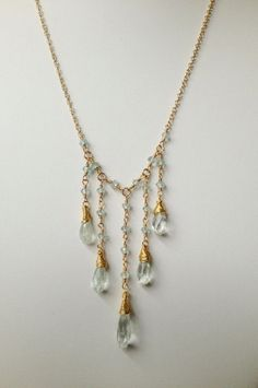 5 strand Aquamarine Dangle Briolettes Gold by NakedPlanetJewelry, $88.00