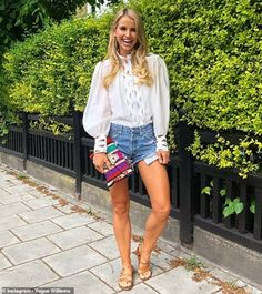Vogue Williams admits she is 'broody' after the arrival of royal baby Archie Broody, Royal Babies, Tv Presenters, Duke And Duchess, Archie, Casual Chic, Denim Skirt, Fashion Forward, Fashion Models