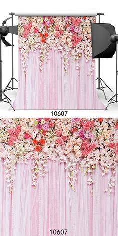 SJOLOON 10x10ft Rose Floral Wall Wedding Portraits Photography Backdrop Thin Vinyl Pink Flowers Wall Photo Backdrop 10607