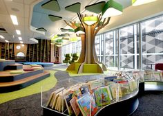 Springfield Library - Children's area designed by CK Design International in association with Complete Urban . Exclusive: first look inside the New Springfield Library - Ipswich First
