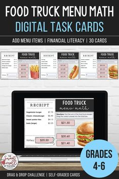 Develop your student's financial literacy with these digital task card activities that cover adding store items. Each card will display four to six items. Students find the sum, select the correct answer from the available options and drag the total into the empty box. Great activity for math rotations and revision! #grade5moneyactivity #grade6addingmoney #mathcenteractivity #addingmoney #sweetsmellofteaching #decimaloperations #moneytaskcards #addingdecimalsactivity #digitaltaskcardsmath Multiplication, Fractions, Learning Resources, Teacher Resources, Classroom Resources, 5th Grade Math, Fourth Grade, Math Centers, Math Rotations