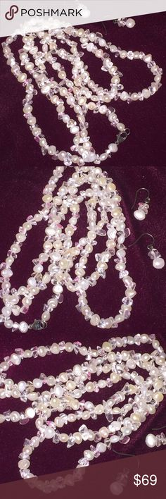 "Beautiful 24"" Cultured Pearls and Beads w ER in SS This is a lovely set of Cultured Pearls 24"" Necklace and Drop Earrings. Sterling Claw Clasp. Sterling J-Hoop ER.   Beautiful Luster. Classy and Feminine. The ONLY Living Organism that is a Gemstone. Coldwater Creek Jewelry Necklaces"