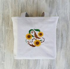 Sunflower Embroidery Tote  Flower Tote Bag  by LucyLynDesigns
