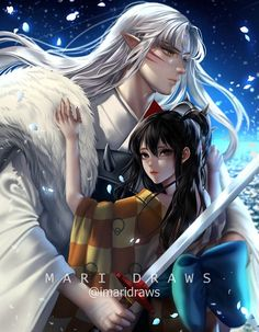 Rin And Sesshomaru, Inuyasha Love, Inuyasha And Sesshomaru, Okuda, Digital Art Anime, Anime Fantasy, Pokemon Cards, Digimon, Rimmel