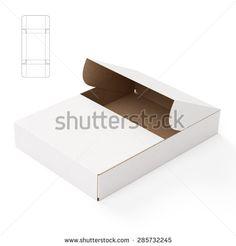 Slim Symmetric Retail Open Empty Box with Die Cut Template - stock photo