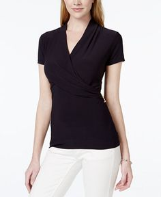 Charter Club Short-Sleeve Crossover Wrap Top, Only at Macy's