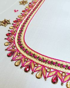 ------------- Wedding Blouses ------------ A blouse i absolutely loved making. Hot pink silk blouse with contrast french knot and beads… Cutwork Blouse Designs, Simple Blouse Designs, Blouse Neck Designs, Hand Work Blouse Design, Aari Work Blouse, Saree Tassels Designs, Apple Watch Bands Fashion, Simple Embroidery Designs, Maggam Work Designs