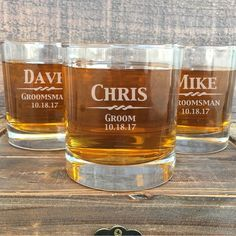 Engraved whiskey glasses, groomsmen gift glasses, gifts for groomsmen, ushers, groom, best man, father of the bride and groom. We can customize our glasses anyway you would like!