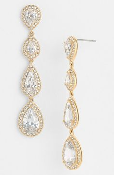 Nadri Linear Earrings gold tone