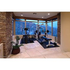 Great Modern Home Gym ❤ liked on Polyvore featuring house, casa, places and rooms