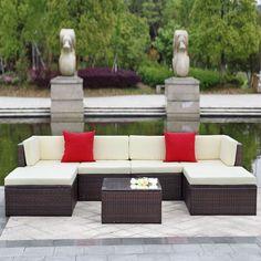 Patio Garden Furniture Sofa Set Ottoman
