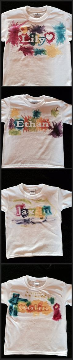 Used water color tye dye paint and I used contact paper and my Cricut to cut out the letters. It worked best if the contact paper stuck firmly to the shirt. Kids ages 2-8 had a great time making these.