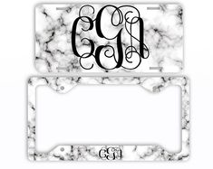White Black Marble Look License Plate Car Tag Monogram Frame Personalized Set Custom Initials Car Coasters -