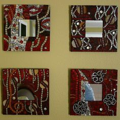 Klimt Collection by jackienoyes, via Flickr. Red black and mirror mosaic mirror frames. I absolutely love these!!