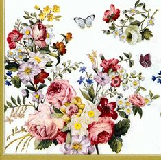 Decoupage Napkins  Fountain of Roses and Butterflies by Chiarotino