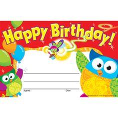 Owl Happy Birthday certificates.