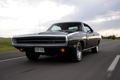 1970 Hemi Charger, four-speed triple black. The Real Deal. Shot by me.     The ONLY triple black/'70/Hemi/4-speed.