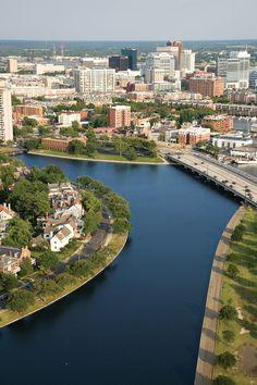 Branch of the Elizabeth River that runs through downtown Norfolk VA