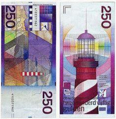Dónde: Holanda Valor: 250 Año: 1985 Peculiaridades: Diseñado por Ootje Oxenaar, es uno de los billetes que usa más colores de la historia, ya que en la mayor parte de los casos predomina un único color. Un precioso diseño en el que se encuentran, escondidos, los nombres de las tres mujeres más importante de la vida del diseñador: su abuela, su mujer y su amante.
