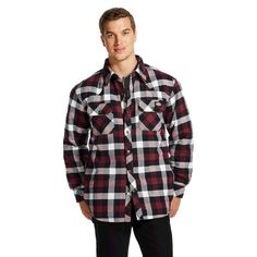 Dickies Men's Big & Tall Quilted Lined Plaid Overshirt- Wine (Red) 4XL