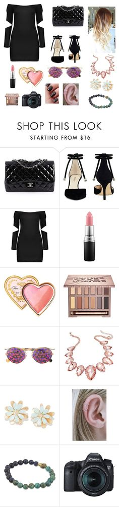 """Night out on town"" by spygirl71204 ❤ liked on Polyvore featuring Chanel, Nine West, MAC Cosmetics, Too Faced Cosmetics, Urban Decay, Christian Dior, Thalia Sodi, Nialaya and Eos"