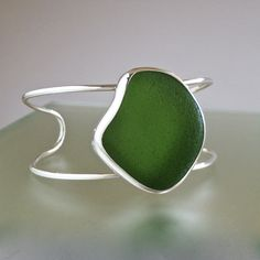 Wholesale sea glass jewelry. Emerald green sea glass cuff bracelet.