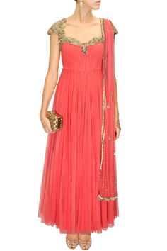 WINTER WONDERLAND : Coral gold embroidered anarkali set by Atsu.