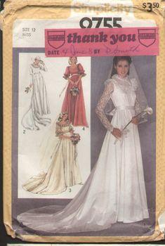 Simplicity 9755 Vintage 1980s Wedding Dress Pattern B34