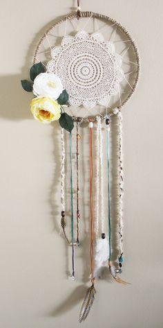 Wall Hanging Silk Flower Doily Dreamcatcher