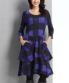 Look at this #zulilyfind! Blue Buffalo Check Layered Pocket Dress #zulilyfinds