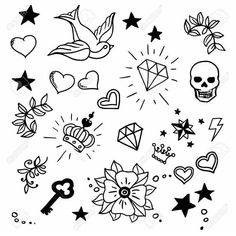 Set of old school tattoos elements — Stock Illustration Flash Art Tattoos, Body Art Tattoos, Sleeve Tattoos, Tatoos, Leg Tattoos, Tattoo Old School, Old School Tattoo Designs, Kritzelei Tattoo, Doodle Tattoo