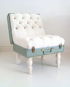 Cushy chair made out of an old, sturdy suitcase http://www.globallygorgeous.com/2011/07/decorating-idea-vintage-luggage.html