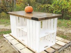 Kitchen Island, Farmhouse, Distressed, Carved, Rustic, Country, Crate Storage