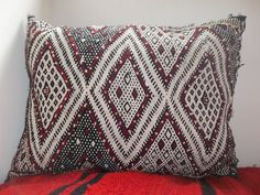 Traditional Moroccan Berber Cushion Cover Vintage Red Cream Black