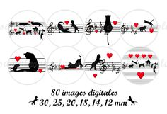 Digitale Downloads - Cabochon Vorlagen Cabochon Bilder Katze - ein Designerstück von allegradigital bei DaWanda