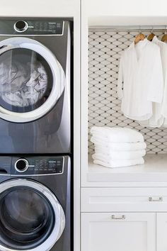 White Carrara Grey Dot Marble Diamond Mosaic Tiles in laundry room