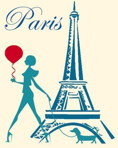 Parisian Girl - A4 Printable. £5,00, via Etsy.