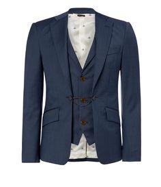 Blue Melange Waistcoat Jacket